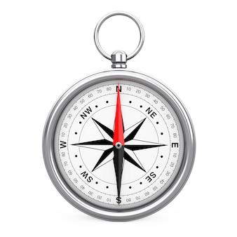 Błyszczący kompas rocznika z różą wiatrów na białym tle. renderowanie 3d