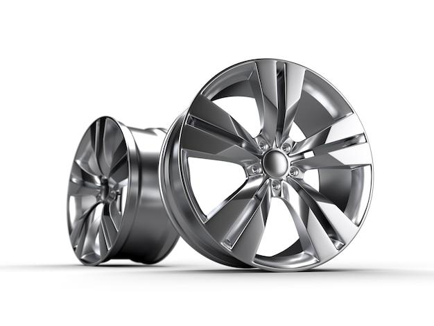 Błyszczący metalowi samochodowi dyski odizolowywający na bielu. ilustracja renderowania 3d.