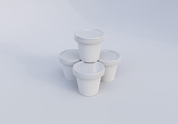 Błyszczący obraz makiety słoika do lodów na białym tle
