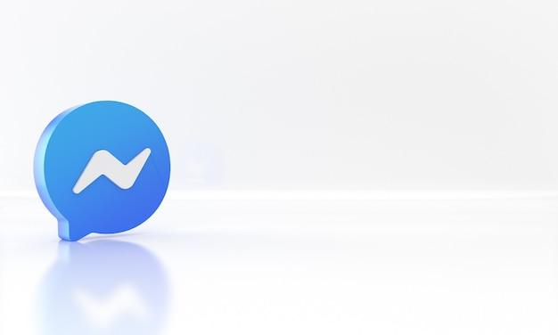 Błyszczący projekt renderowania 3d logo lub symbolu mediów społecznościowych komunikatora na białym tle