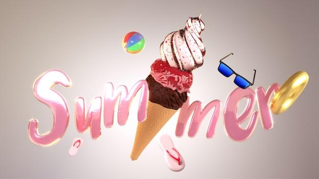 Błyszczący różowy tekst lato z lodowym stożkiem i bea