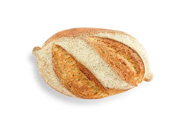 Bochenek chleba na białym tle. widok z góry.