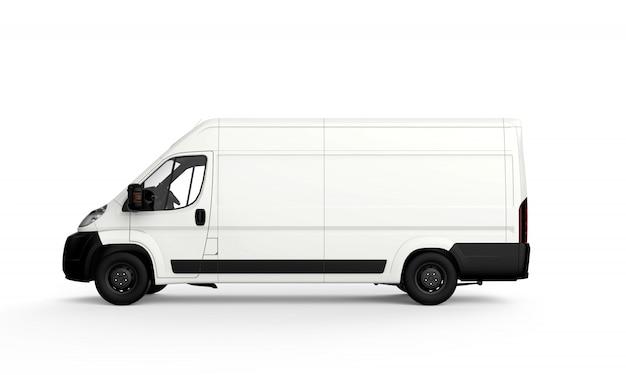Boczna biała ciężarówka