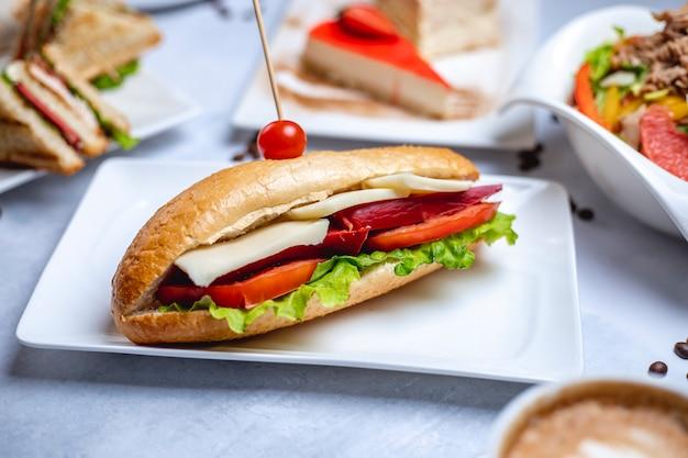 Bocznego widoku kanapki biały chleb z wędzonym kiełbasianym serem pokrojonym pomidorem i sałatą na talerzu