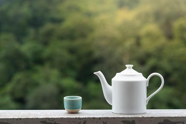 Boczny widok herbaciany garnek przy herbacianą rośliną.