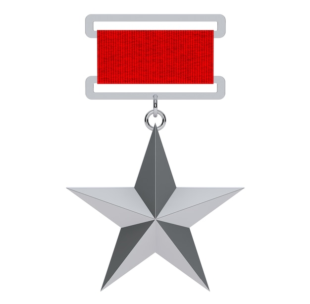 Bohater związku radzieckiego silver star award na białym tle. renderowanie 3d
