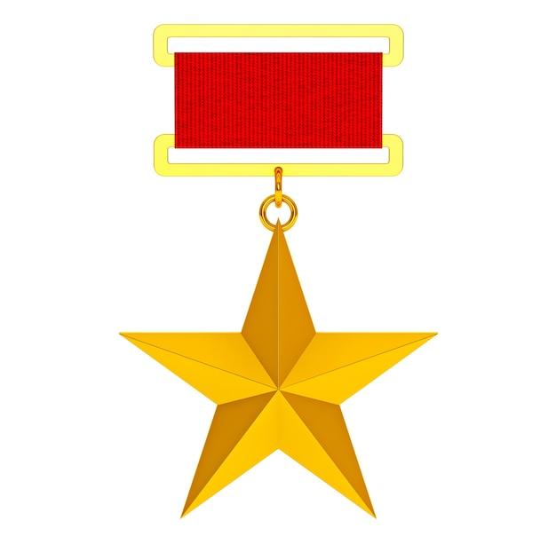 Bohater związku radzieckiego złota gwiazda na białym tle. renderowanie 3d