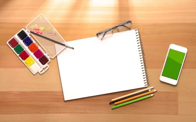 Bohatera 3d ilustracyjny chodnikowa szablon z artystycznymi rzeczami z kopii przestrzenią dla twój teksta.