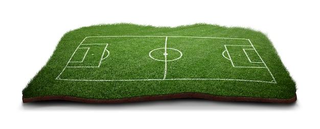 Boisko do piłki nożnej z zieloną trawą.