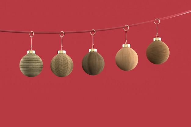 Bombki choinkowe minimalistyczna tapeta. renderowanie 3d. ilustracja 3d. wesołych świąt bożego narodzenia koncepcja