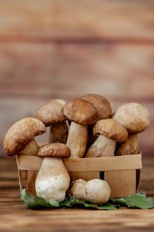 Borowik grzybowy na drewnianym