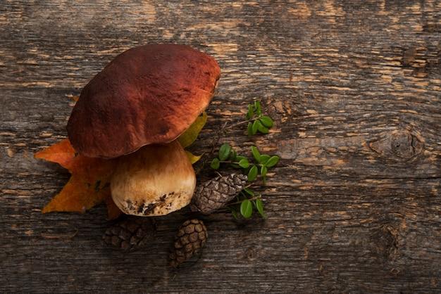 Borowik leśny na rustykalnym drewnianym