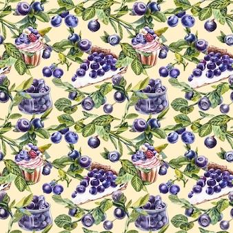 Borówka amerykańska. bez szwu wzorów. akwarela ilustracja botaniczna. ręcznie rysowane borówka akwarela malowanie na białym tle.