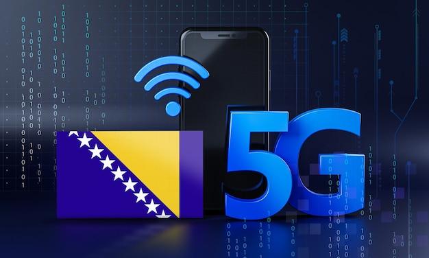 Bośnia i hercegowina gotowa na koncepcję połączenia 5g. renderowania 3d technologia smartphone tło