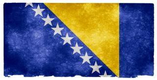 Bośnia i hercegowina, grunge, banderą, żółty
