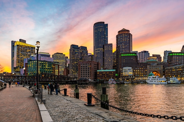 Boston downtown skylines bay
