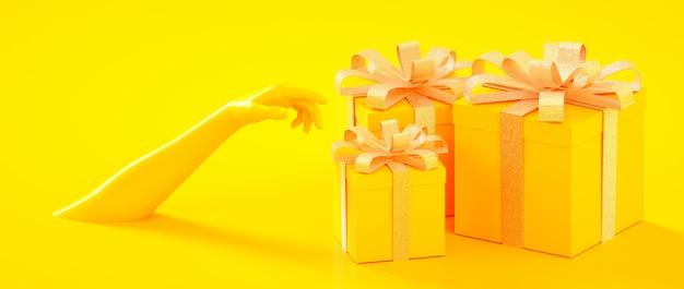 Boże narodzenia, nowy rok, urodzinowa żółta złota teraźniejszość boksują z ręki 3d renderingu ilustracją