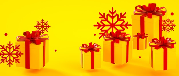 Boże narodzenia, nowy rok, urodzinowi żółci czerwieni teraźniejszości pudełka i płatków śniegu 3d renderingu ilustracja