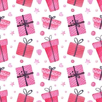 Boże narodzenie akwarela bezszwowe wzór z pudełkami na prezenty, opakowaniami