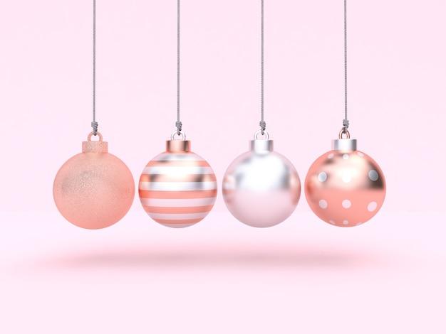 Boże narodzenie ball wiszące różowe tło renderowania 3d