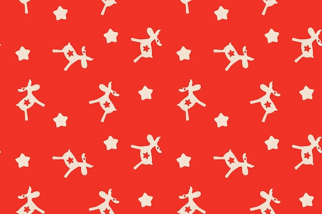 Boże narodzenie bezszwowe wzór z jeleniami i gwiazdami na czerwonej powierzchni