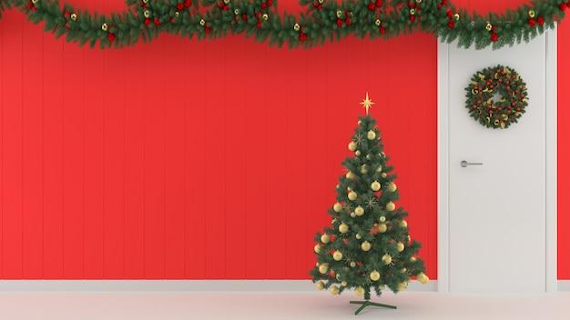 Boże narodzenie dekoracje ścienne drewniane ściany podłogowe wnętrze makieta tło prezent pudełko szablon drzewa int