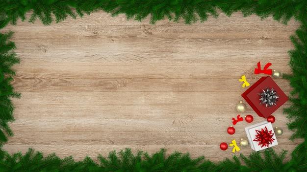 Boże narodzenie dekoracje ścienne drewniane ściany podłogowe wnętrze wnętrza tło prezent pudełko szablon drzewa