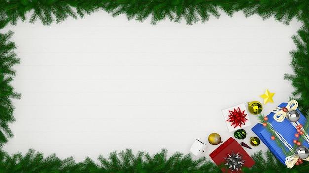 Boże narodzenie dekoracje ścienne drewniane ściany wnętrze makieta tło prezent pudełko szablon drzewa