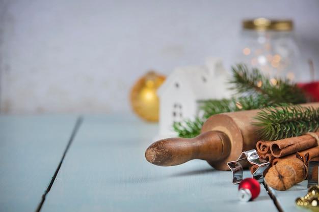 Boże narodzenie do pieczenia tło. składniki na świąteczne gotowanie