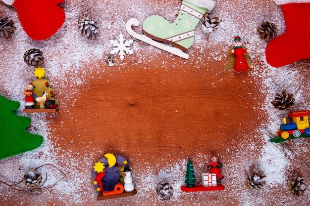Boże narodzenie i nowy rok ramki dla karty z pozdrowieniami widok z góry. makieta świąteczna.