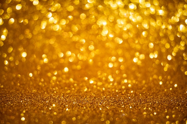Boże narodzenie i nowy rok wakacje złoty bokeh tło z miejsca kopii.