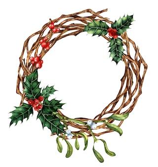 Boże narodzenie i nowy rok wystrój z wieńcem gałęzi akwarela ilustracja wieniec