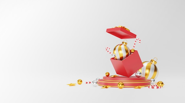 Boże narodzenie i szczęśliwego nowego roku tło z świąteczną dekoracją i miejscem na kopię. ilustracja 3d