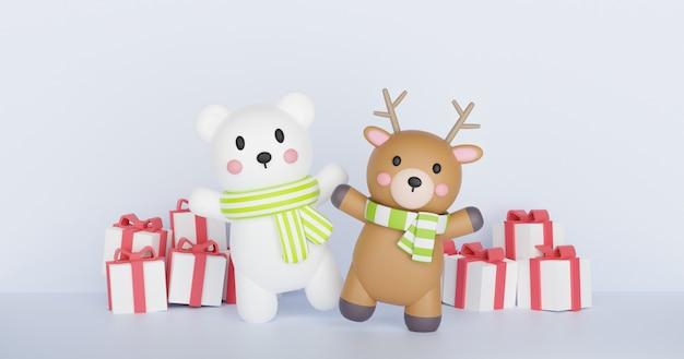 Boże narodzenie ilustracja z niedźwiedziem polarnym i drodzy na białym renderowania 3d.