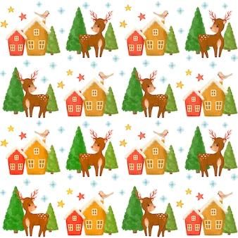 Boże narodzenie jelenie, drzewo, dom wzór
