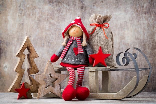 Boże narodzenie kartkę z życzeniami. noel gnome tło. symbol bożego narodzenia.