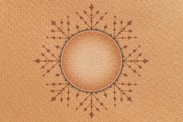 Boże narodzenie karton tło z płatka śniegu i okrągły szyld w centrum.