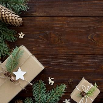 Boże narodzenie koncepcja na drewnianym stole z miejsca na kopię