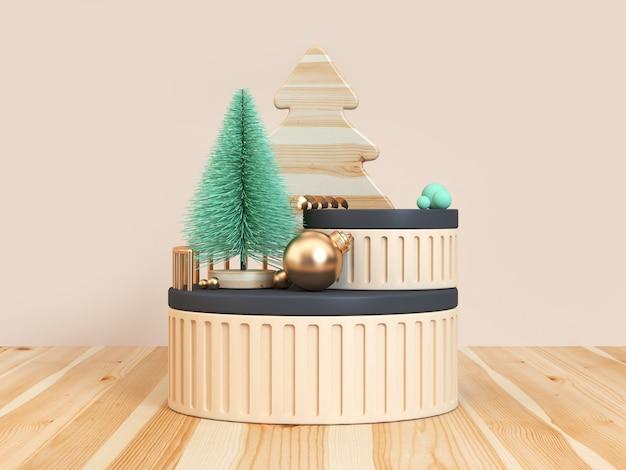 Boże narodzenie koncepcja zielone drzewo podłogi drewniane krem czarny scena renderowania 3d