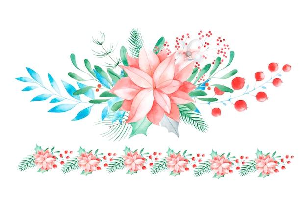 Boże narodzenie kwiatowy wystrój. ręcznie malowane tradycyjne kwiaty i rośliny: ostrokrzew, jemioła, jagody i gałąź jodły na białym tle.