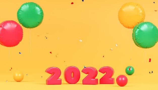 Boże narodzenie lub nowy rok święta tło, czerwone numery 2022 z konfetti i balonami, renderowanie 3d