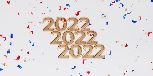 Boże narodzenie lub nowy rok święta tło, złoty list 2022 z konfetti, renderowania 3d