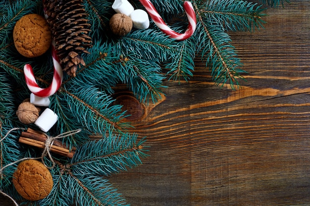 Boże narodzenie lub nowy rok tło z ciasteczkami przyprawami cynamonem i gałęzią jodły na ciemnym drewnie...