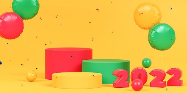 Boże narodzenie lub nowy rok wakacje tło z podium lub cokoły, czerwone numery 2022 z konfetti i balonami, 3d render