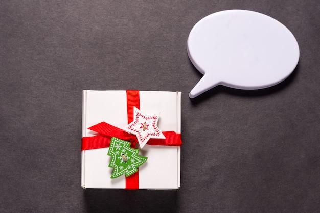 Boże narodzenie pudełko z bańką dialogową
