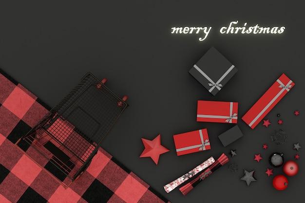 Boże narodzenie ramki. czerwone, czerwone i czarne świąteczne dekoracje i koszyk na czarnym tle