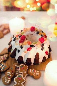Boże narodzenie słodkie jedzenie. świąteczny pudding.