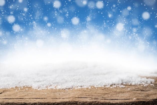Boże narodzenie śniegu i drewna tła