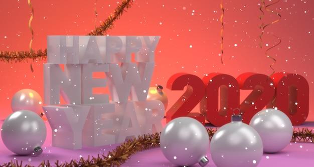 Boże narodzenie szczęśliwego nowego roku skład z kulkami i serpentynem. 3d ilustracji.