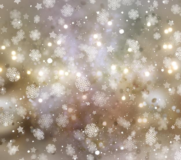 Boże narodzenie tło płatki śniegu i gwiazd
